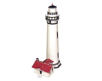 Pigeon Point Lightouse, assembled model of Californian landmark || full color model 7 inches or 17 cm high