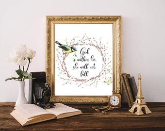 God Is Within Her She Will Not Fall, Psalm 46:5, Gold Home Decor, Baby Shower, Printable Gift, Printable Art, Boy Scripture, Little Boy Wall