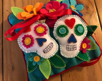 Day of the Dead Dia de los Muertos Ring Bearer Pillow Felt Turquoise