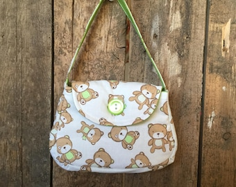 Girls Fabric Purse with Button, Teddy Bears