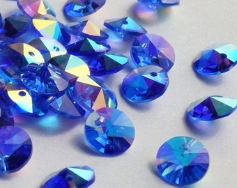 20 Vintage Swarovski Crystal Beads, 6mm Sapphire With Aurore Boreale Finish, Article 21/6200, 20 Vintage Crystal Beads, Blue Crystal Beads