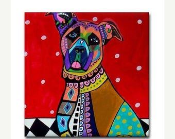 50% SALE- Great Dane art Tile Ceramic Coaster  Folk Art Print of painting by Heather Galler dog