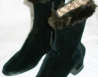 1940's Black Velvet and Fur Boots