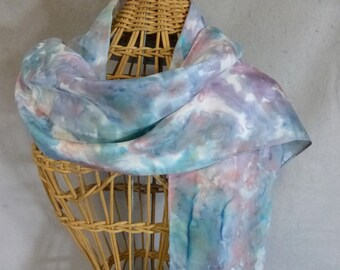 "Hand Painted Silk Scarf ""Painted Desert--Sage Green, Blue, and Rose"""