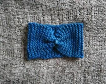 Blue wool headband - hand knitted - headband - turban - handmade