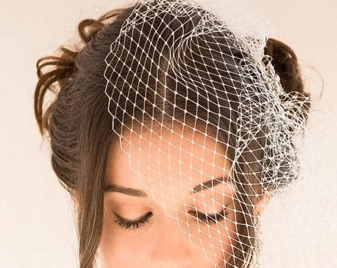 Birdcage blusher veil, haircomb, crystal veil, , black, great gatsby, pearls Vintage style, Russian net, Bride, wedding hair