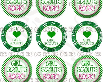 "1"" Digital Bottle Cap Sheet **INSTANT DOWNLOAD** Girl Scouts Rock Peace Girl Scout"
