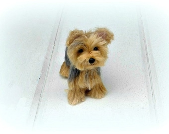 Needle Felted Yorkie /Custom Miniature Sculpture of your pet / Cute poseable