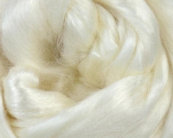 Extra Bleached Tussah Silk Roving 100 grams / 3.5 oz for Spinning or Felting