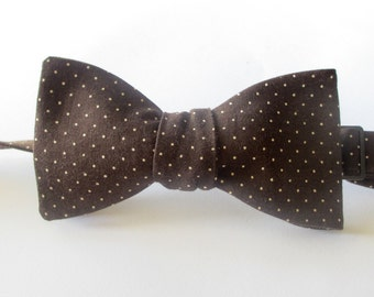 Mens bowtie in quality chocolate brown cotton with white pindots