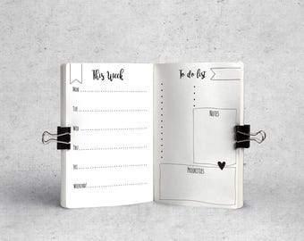 A6 TN Planner Inserts. Printable pages. Travelers notebook inserts. Minimal. Hand Writing. Bullet Journal. To do list. Organization.