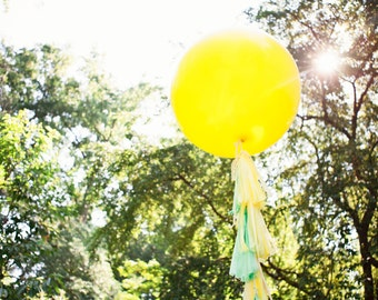 Balloon Tassels: Mint and Yellow