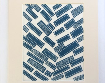 linocut - JUNCTURE // 11x14 art print // blue // block print // printmaking // original // minimalist // contemporary // geometric // 8x10