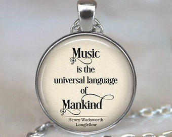 Music is the universal language of Mankind quote necklace, music quote jewelry, music teacher gift, musician gift key chain key ring key fob