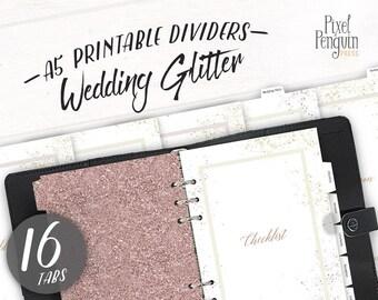 A5 Wedding Planner Dividers Printable, Rose Gold Wedding Planner Glitter, Planner Dashboard A5, Wedding Planner Tabs, Glitter Dashboard