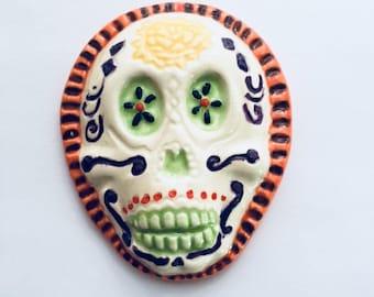 Mosaic Supply Ceramic Sugar Skull Day of the Dead Ceramic Tile Mosaic Ceramic Skull Assemblage Halloween Decor Ceramic Mosaic Tile