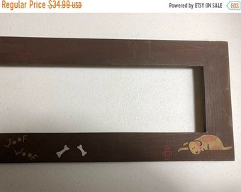 SUMMERSALE Hand Painted Wooden Puppy Theme Frame painted in Brown 19.5 by 4.25 inch wide / high (side to side) Inside Opening