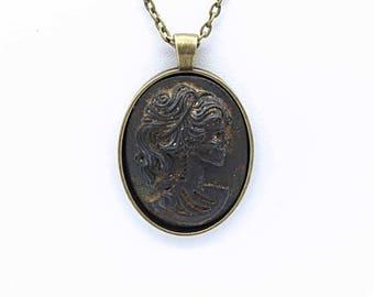 Aged Metal Lolita Skeleton Cameo Necklace