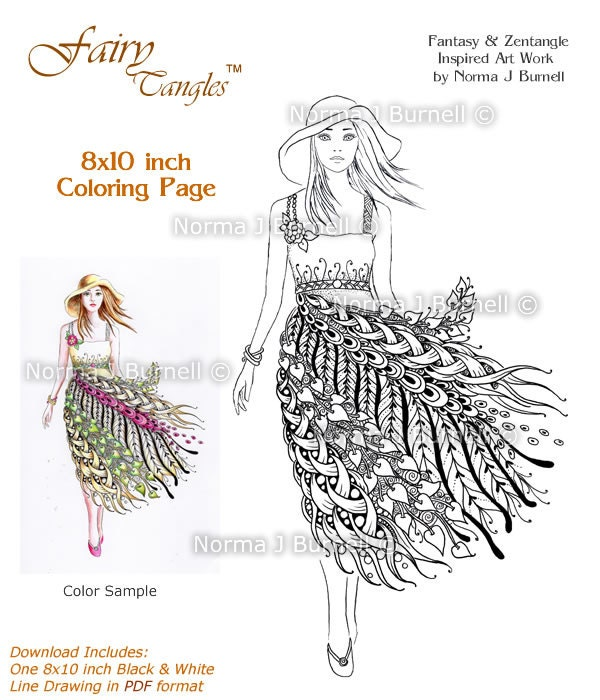 Summer Sundress Fairy Tangles Printable Coloring Sheets Adult