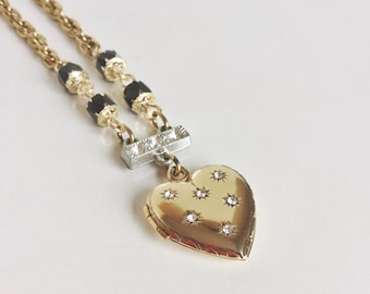 Gold Heart Locket Necklace, Rhinestone Starbursts, Black Glass Beads, Gold Chain, One of a Kind, Handmade with Vintage Materials, Romantic
