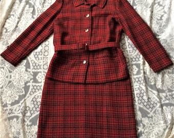 Vintage 1960s Pendleton Red Black Gray Tweed Suit with Matching Belt