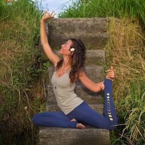 896f07677e Blue Indigo Moon Leggings - Women Yoga Pants, second skin tights with  spats, yogic
