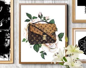 Louis Vuitton, Louis Vuitton print, Louis Vuitton art, Fashion bag, Fashion illustration, Fashion art print, Flowers illustration, LV bag