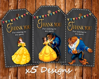 Beauty and The Beast Printable Tags, 5 styles, Thank You Cards, Belle Princess, Instant Download Tags, Belle Favours, Birthday Thank You Tag