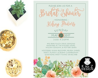 Succulent Bridal Shower Invitation /Succulent Invitation /Bridal Shower Invitation/ Printable Invitation / Printed Invitations
