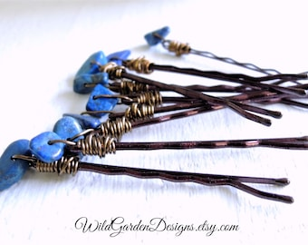 Lapis Lazuli Blue Hair Pins Set Natural Indigo Blue Gemstone Accessories Boho Chic Hair Style Trend Bohemian Wedding Accessory Set of Three