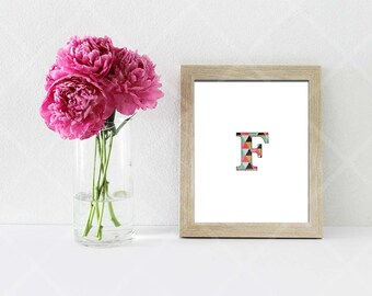 Alphabet Print Poster Digital Download Modern Home Decor Geometric Printable Fashion Wall Art Typography Print Instant Download Letter F