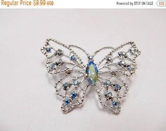 On Sale Vintage Blue Iridescent Rhinestone Butterfly Pin Item K # 2656