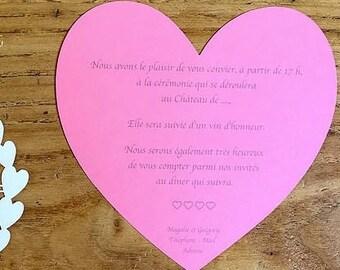 Set of 10 heart wedding invitation cards