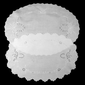 2 large OVAL MADEIRA DOILIES or centerpieces / crisp white linens with hand embroidered whitework / Beautiful needlework / table toppers