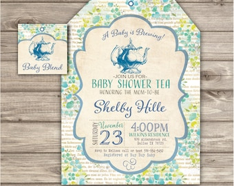 Baby shower tea party invitation a baby is brewing flowers tea blue baby tea party baby shower invitations gender neutral download yellow green vintage tea pot baby filmwisefo Gallery