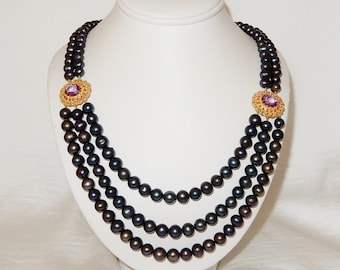 "660TCW 7 to 10mm 3 & 2 strand Black China CULTURED Freshwater Pearls, Purple Amethyst, Ruby gemstones, 14kt yellow gold 24"" Necklace"