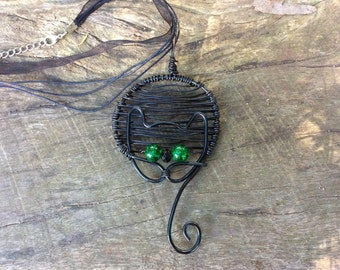 Wire wrapped black cat pendant