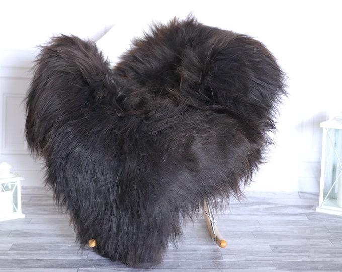 Icelandic Sheepskin | Real Sheepskin Rug |  Super Large Sheepskin Rug Brown Black | Fur Rug | Homedecor #KOWISL29
