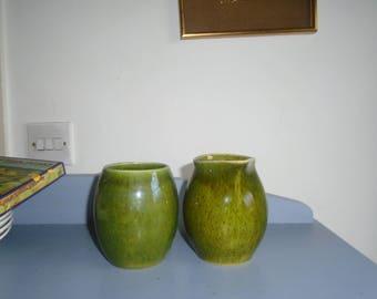 holkham motled green owl handled mug and jug