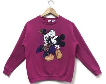 Rare!!! Vintage Mickey Mouse Minnie Mouse Sweatshirt Cartoon Disneyland Crewneck