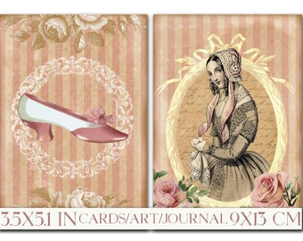 Printable Card Instant Art Victorian Ladies Vintage Fashion Digital Download Tag 9x13cm Scrapbook Images Decoupage Paper Collage Sheet