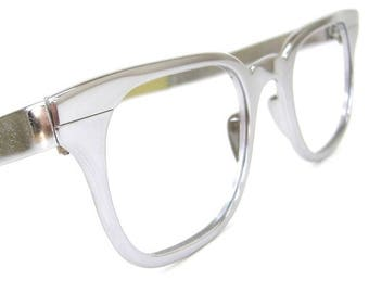 Vintage Mens Chrome Horn Rim G Man Eyeglasses  Frame By Tura EXCELLENT