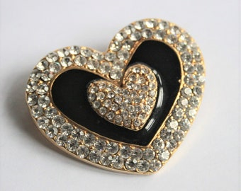 Vintage heart brooch. Crystal and enamel heart brooch.  Vintage jewellery