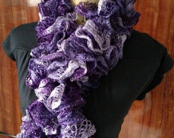 Purple Ruffle Scarf, Violet Frilly Scarf, Lace Scarf