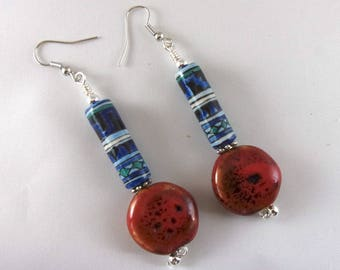 Drop Earrings, Blue and Red Ceramic Boho Long Drop Earrings, Colorful Chunky Jewelry
