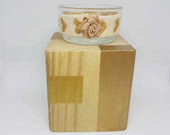 Square candle holder a toy - natural wood and gold - chart.