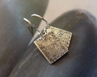 Dandelion silver earrings, Sterling silver, rustic dangle earrings, natural jewelry, gift for daughter, 30th birthday gift, 40th birthday