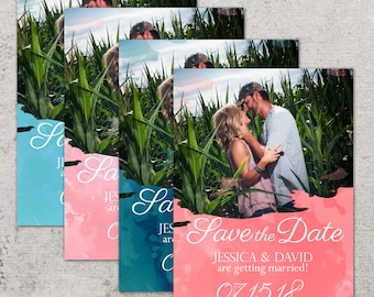 Save the Date Announcement, Save the Date Magnet, Save the Date Postcard, Watercolor Save the Date Announcement, Summer Color Save the Date