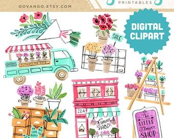 FLOWER SHOP Digital Clipart Instant Download Illustration Graphics Collage Ephemera Commercial Watercolor Clip Art Floral Succulent Plants