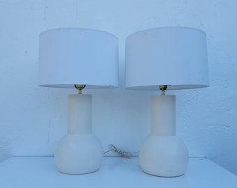Signed  1977  Joe Head White  Ceramic  Lamps  A Pair .